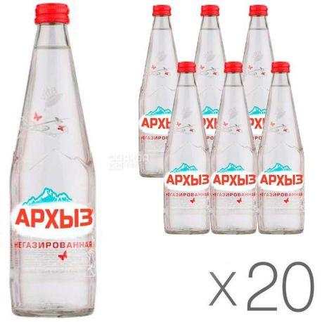 Архыз, 0,5 л, Упаковка 20 шт., Вода минеральная негазированная, стекло