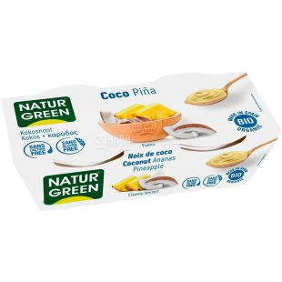 NaturGreen, 2 шт. по 125 г, НатурГрин, Десерт органический кокосовый с ананасом