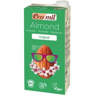 Ecomil, Almond Original, 1 л, Екоміл, Рослинний напій, Мигдаль з сиропом агави, без цукру