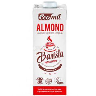 Ecomil, Almond Barista, 1 л, Екоміл, Рослинний напій з мигдалю Бариста, з низьким вмістом цукру