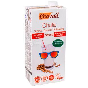 Ecomil, Chufa, 1 л, Екоміл, Рослинний напій з тигрового горіха, без цукру