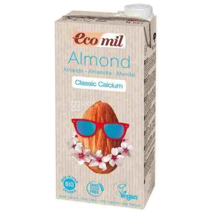 Ecomil, Classic Calcium, 1 л, Екоміл, Рослинний напій, Мигдаль з кальцієм