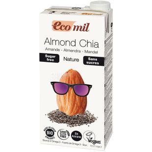 Ecomil, Nature, 1 л, Экомил, Растительный напиток, Миндаль с семенами чиа, без сахара