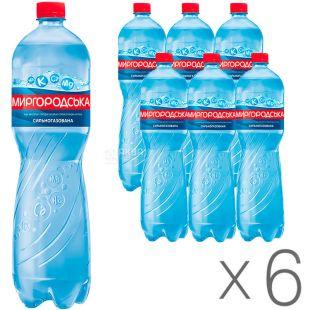 Миргородская, 1,5 л, Упаковка 6 шт., Вода минеральная сильногазированная, ПЭТ
