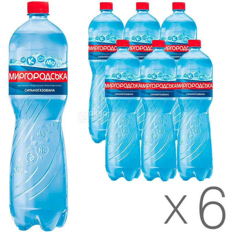 Миргородська, 1,5 л, Упаковка 6 шт., Вода мінеральна сильногазована, ПЕТ