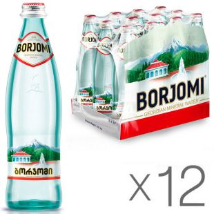 Borjomi, Packaging 12 bottles x 0.5 l, glass, Mineral Water, Borjomi, glass