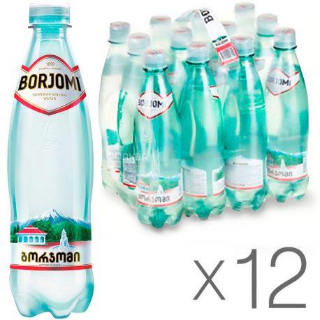 Borjomi, 0,5 л, Упаковка 12 шт., Боржоми, Вода минеральная сильногазированная, ПЭТ