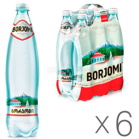 Borjomi, 0,75 л, Упаковка 6 шт., Боржомі, Вода мінеральна сильногазована, ПЕТ