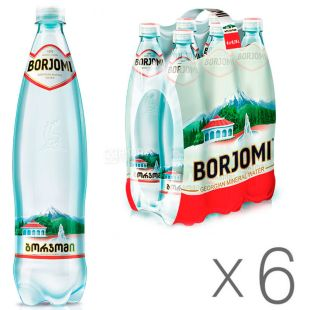 Borjomi, Packing 6 pcs. 0.75 l each, highly carbonated water, mineral, PET, PAT