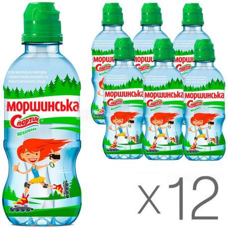 Моршинская Спортик, 0,33 л, Упаковка 12 шт., Вода негазированная, с дозатором, ПЭТ