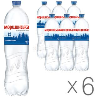 Morshynska, Packing 6 pcs. 1.5 l each, highly carbonated water, PET, PAT