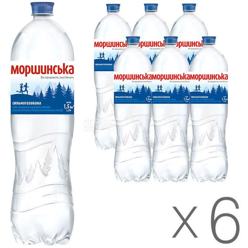 Моршинська, 1,5 л, Упаковка 6 шт., Вода мінеральна сильногазована, ПЕТ