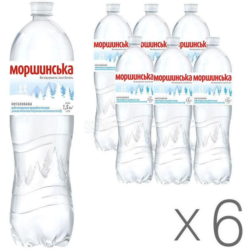 Моршинская, 1,5 л, Упаковка 6 шт., Вода минеральная негазированная, ПЭТ
