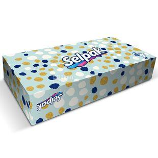 Selpak Maxi Mix,100 шт., Салфетки косметические Селпак Макси Микс, 3-х слойные, 21х21 см, белые