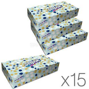 Selpak Maxi Mix, 15 упаковок по 100 шт., Салфетки косметические Селпак Макси Микс, 3-х слойные, 21х21 см, белые