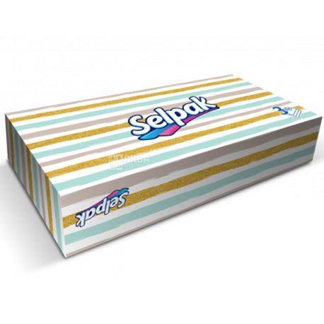 Selpak, 50 шт., Серветки гігієнічні Селпак, 3-х шарові, 21х21 см, мікс, білі