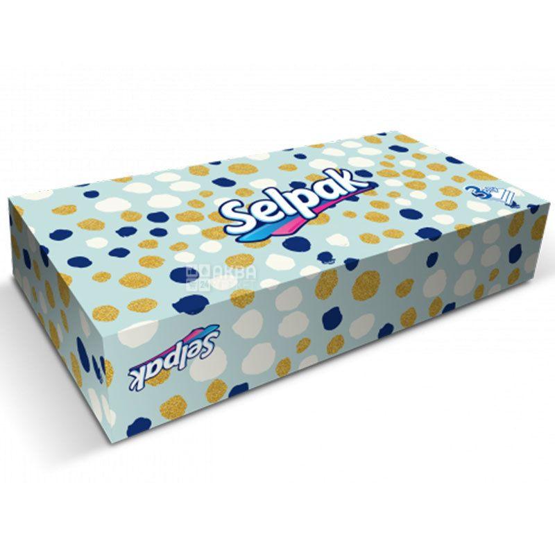 Selpak, 50 шт., Салфетки гигиенические Селпак, 3-х слойные, 21х21 см, микс, белые