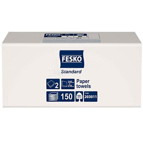 Fesko, 150 листов, Полотенца бумажные Феско, 2-х слойные V-сложения, 24,5х23 см, белые