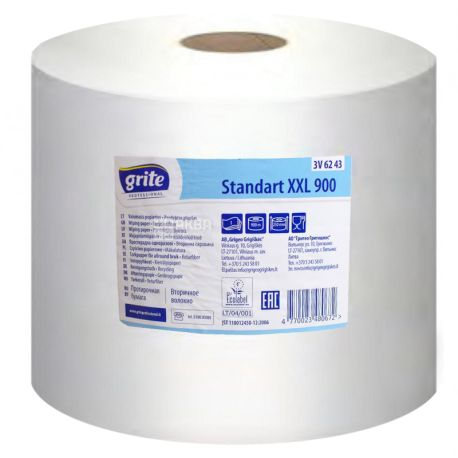 Grite, Standart XXL 900, 1 рул., Протирочная бумага Грите Стандарт, однослойная, 900 м