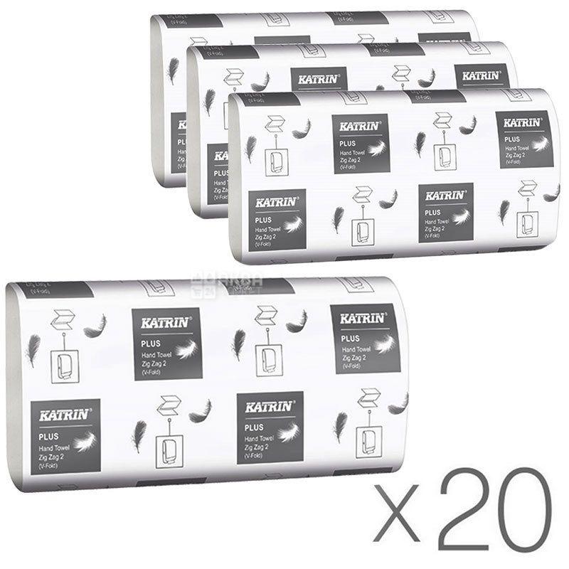 KATRIN, Classic ZIGZAG, 20 упаковок по 150 листов, Полотенца бумажные Катрин, 2-х слойные, ZZ-сложение, 22.9х23.2 см