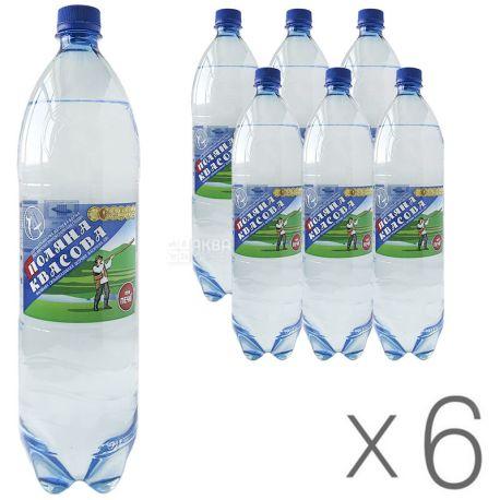 Поляна Квасова, 1,5 л, Упаковка 6 шт., Вода минеральная сильногазированная, ПЭТ