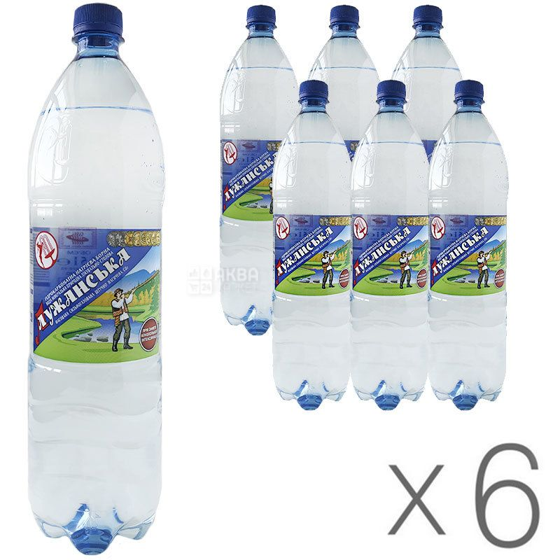 Лужанская, 1,5 л, Упаковка 6 шт., Вода минеральная газированная, ПЭТ