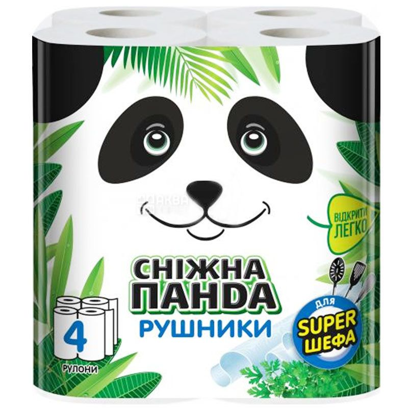 Снежная Панда, для Super шефа, 4 рул., Бумажные полотенца, 2-х слойные, 110 листов, 20х19 см