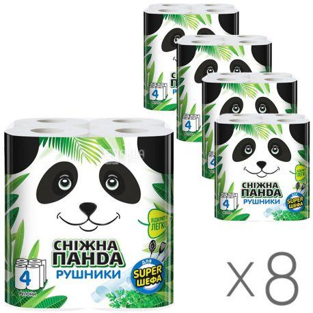 Снежная Панда, для Super шефа, 8 упаковок по 4 рул., Бумажные полотенца, 2-х слойные, 110 листов