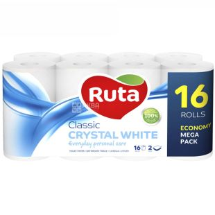 Ruta Classic, 16 рул., Туалетная бумага Рута Классик, 2-х слойная