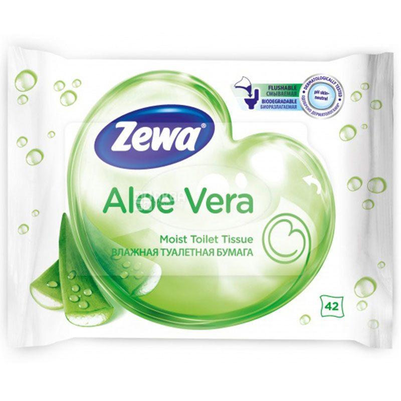 Zewa Мoist Aloe Vera, 42 листа, Влажная туалетная бумага Зева, Алое Вера