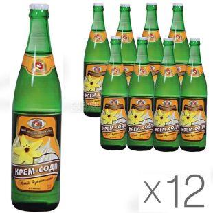 Черкасские Лимонады, Крем-сода, 0,5 л, Упаковка 12 шт., Напиток газированный, стекло