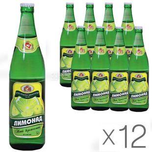 Черкасские Лимонады, Лимонад, 0,5 л, Упаковка 12 шт., Напиток газированный, стекло