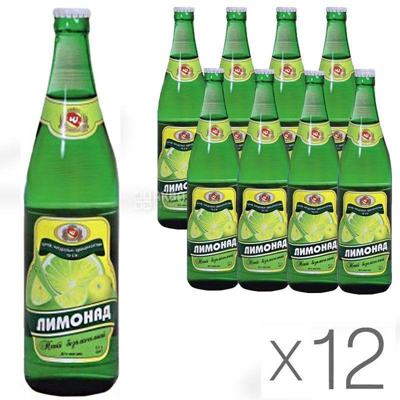 Черкаські Лимонади, Лимонад, 0,5 л, Упаковка 12 шт., Напій газований, скло