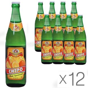 Черкаські Лимонади, Ситро, 0,5 л, Упаковка 12 шт., Напій газований, скло