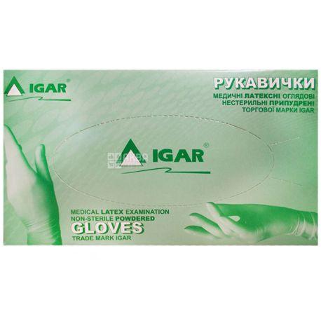 Igar, 100 шт., Рукавички нестерильні, латексні, припудрені, розмір М