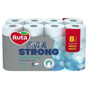 Ruta, Soft & Strong, 8 рул., Паперові рушники Рута, М'які та міцні, 3-шарові, 115х225 мм