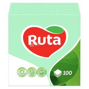 Ruta, 100 шт., Серветки столові Рута, одношарові, 24x24см, зелені
