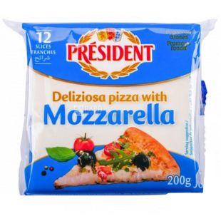 President Моцарелла, 40%, Сир плавлений для піци, скибками, 200 г