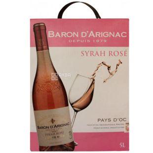 Baron d'Arignac, Syrah Rose, Вино сухое розовое, 5 л