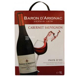 Baron d'Arignac, Cabernet Sauvignon, Вино красное сухое, 5 л