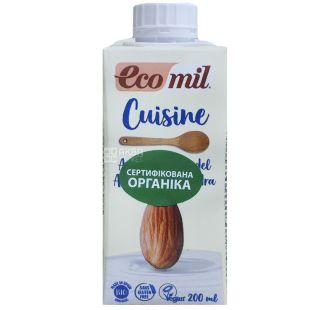 Ecomil, Mandel Almond, 0,2 л, Екоміл, Рослинні вершки Мигдаль, без цукру