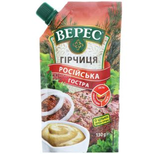 Верес, Горчица Русская острая, 130 г, дой-пак