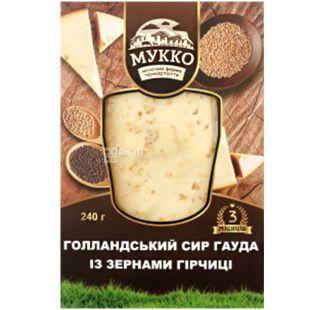 Мукко, 240 г, Сыр голландский Гауда с зернами горчицы, 49,7%