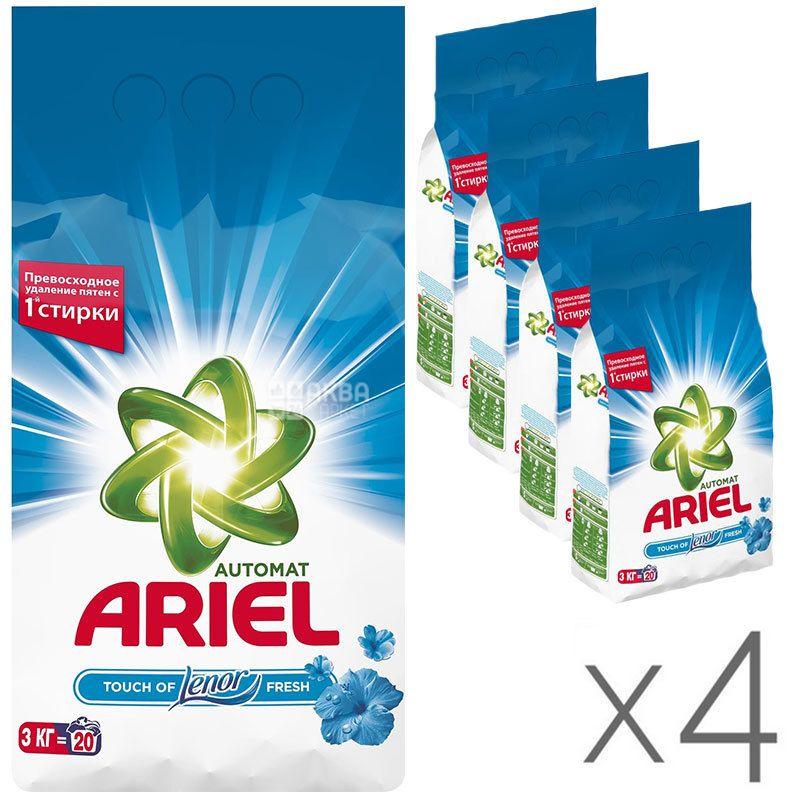 Ariel, Упаковка 4 шт. по 3 кг, Стиральный порошок для белого белья Lenor, Автомат