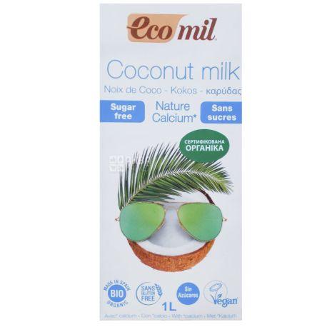 Ecomil, Coconut Milk, 1 л, Экомил, Растительный напиток, Кокос с кальцием, без сахара