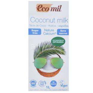 Ecomil, Coconut Milk, 1 л, Екоміл, Рослинний напій, Кокос з кальцієм, без цукру