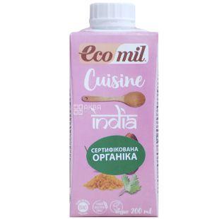 Ecomil, India, 0,2 л, Екоміл, Рослинні вершки Індійські, з кокосом і спеціями, без лактози