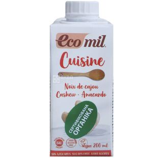 Ecomil, Cuisine, 200 мл, Еком, Рослинний соус Кешью, без цукру