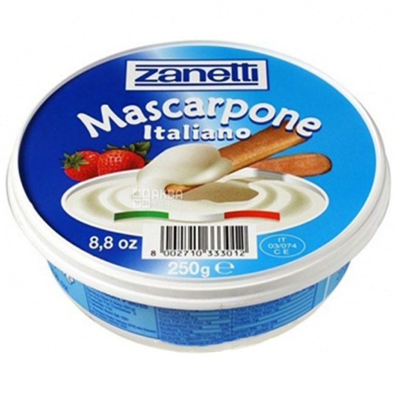 Zanetti, Mascarpone, 250 г, Сыр мягкий из сливок, 80%