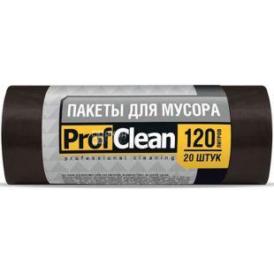 Professional Cleaning, 20 шт., 120 л, Пакеты для мусора Профешнл Клининг, без затяжек, суперпрочные, черные